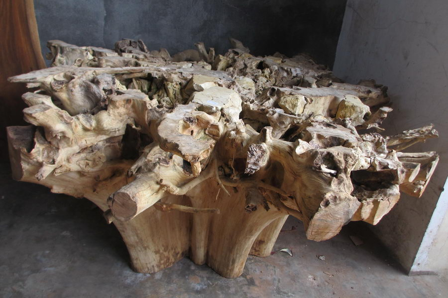 Dining Table Teak Root D022 Bali Wood Slab