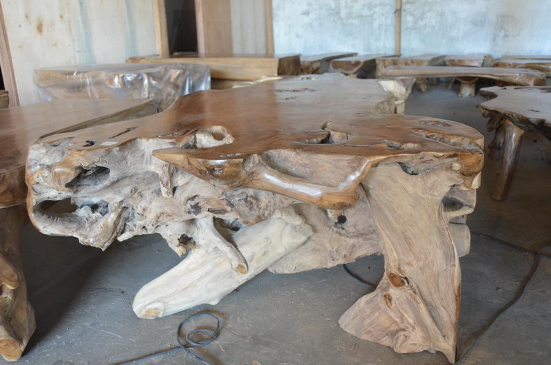 Exotic Coffee Table Teak Root D029 Bali Wood Slab