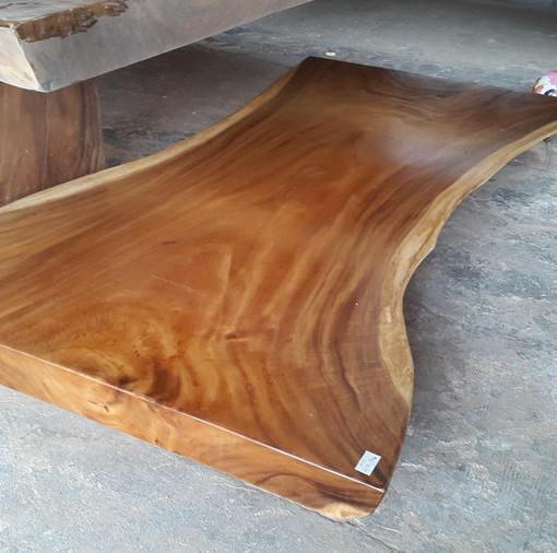 Large Vintage Monkey Pod Wood Slab Coffee Table: Suar Wood Wide Table 200 Cm – #2